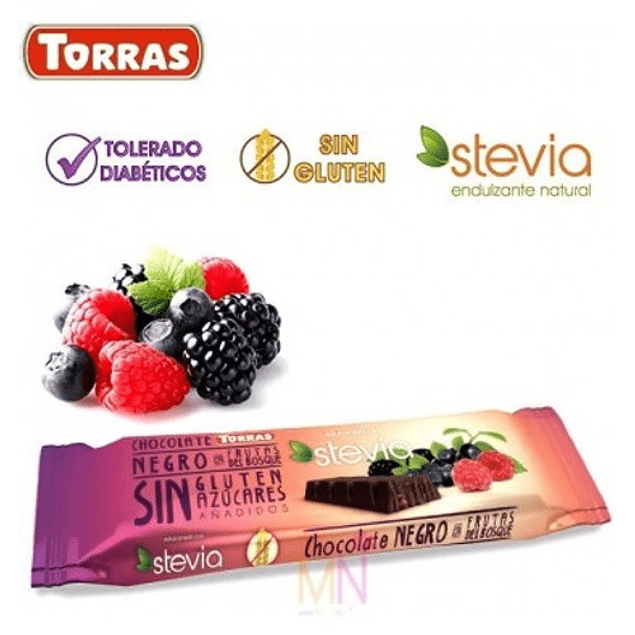 Chocolate negro y frutos del bosque con Stevia (35g)