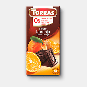 Chocolate Negro con naranja sin azúcar ni gluten 75 grs