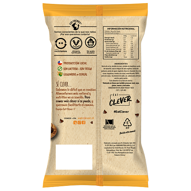 Clever cookies chips de chocolate 30 Grs