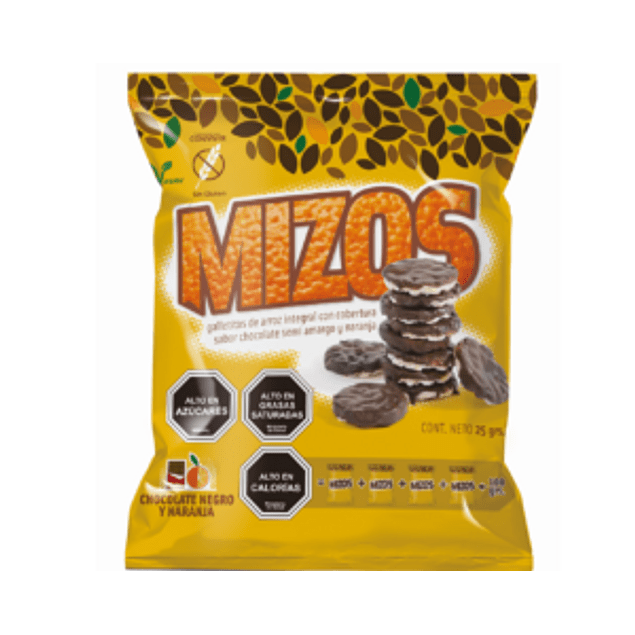 Galletas de arroz Mizos Chocolate Naranja 25 Gr