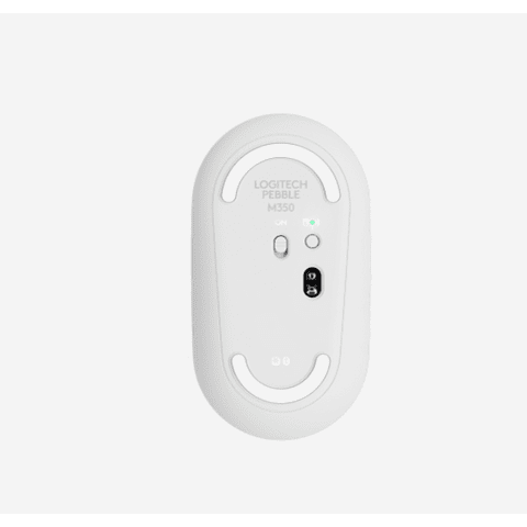 Logitech Pebble M350 - Mouse - optical - 3 buttons - wireless - Bluetooth, 2.4 GHz - USB wireless re white