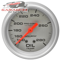 Temperatura do óleo Auto Meter linha Ultra-Lite com 2-5/8 polegadas de diâmetro, mecânico, marca de 140 a 280 graus Farenheit
