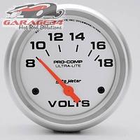 Voltímetro Auto Meter linha Ultra-Lite com 2-5/8 polegadas de diâmetro, elétrico