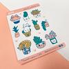 Lámina Stickers Gatos y Suculentas