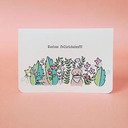 Tarjeta de saludos Perritos, gatos y plantas
