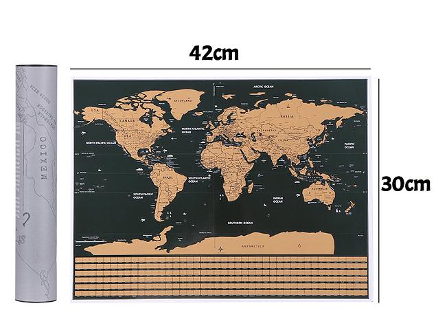 Mapa Raspable 42x30cm con tubo protector