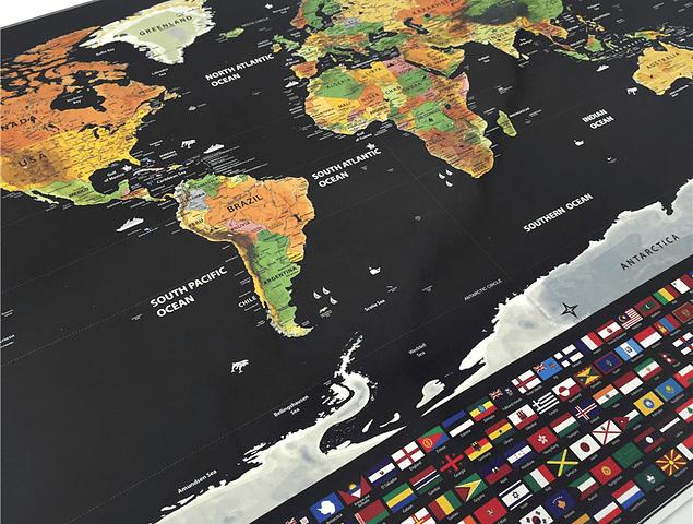 PREVENTA - Mapa Raspable 83X60cm enmarcado
