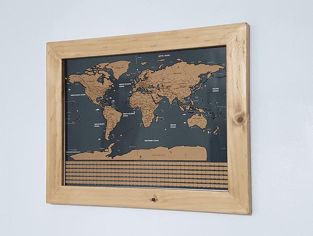 Mapa Raspable 40X30 cm. enmarcado