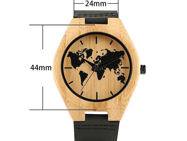 Reloj de Bambú con Mapamundi