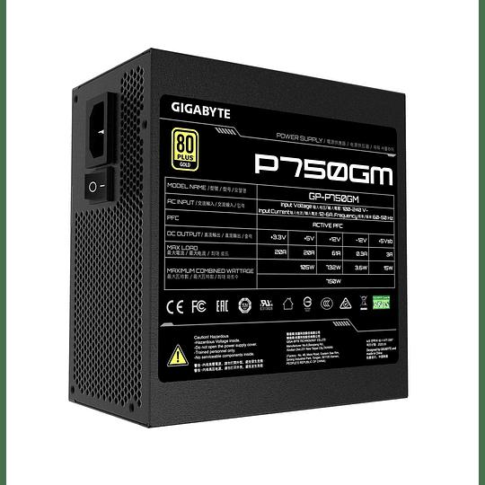 Fuente de Poder Gigabyte P750GM, 750W, Certificada 80 + Plus Gold