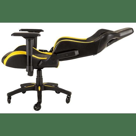Silla Gamer Profesional Corsair T1 Race, Asiento Ancho, Respaldo Alto, Amarillo,Negro