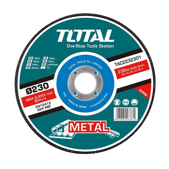 DISCO DE DESBASTE DE METAL TOTAL 230 X 6mm TAC2232301