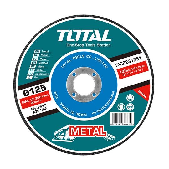 DISCO DE DESBASTE DE METAL TOTAL 125 X 6mm TAC2231251