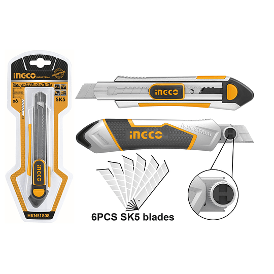 Cuchillo Cartonero 18mm + 6 Hojas INGCO HKNS1808