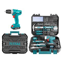 Juego de herramientas de 127 piezas Atornillador Inalámbrico 12V  TOTAL THKTHP11272