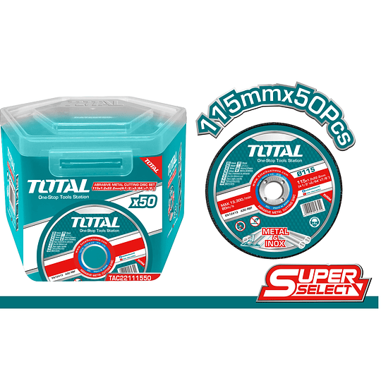 DISCO CORTE METAL 4½ X 1,2MM  PACK 50 UN TOTAL TAC22111550