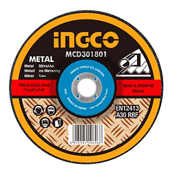 "DISCO CORTE METAL 7"" 180MM  X 1.6MM INGCO MCD301802"