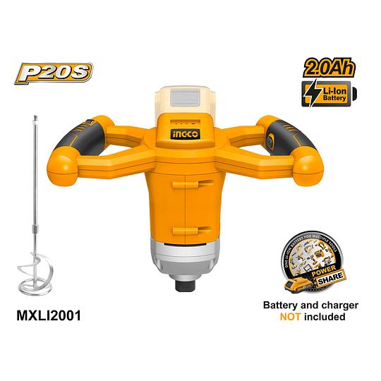 Mezclador de Cemento y Pintura  20V INGCO MXLI2001  No incluye: Batería ni cargador.