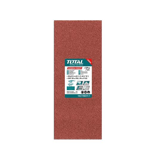 Paquete hojas de lija 5pzas (90X231MM) TOTAL TAC749241-1