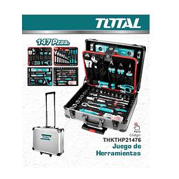 Caja de herramientas de 147 piezas Maleta de aluminio TOTAL THKTHP21476