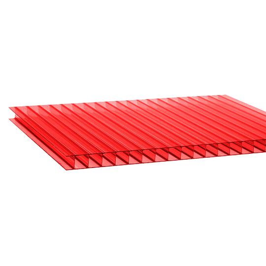 Policarbonato Alveolar 6mm  2.10m x 5.80m  Rojo Cod: PLP06RED
