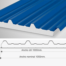 Panel Sandwich Poliuretano 50mm para Techo 6mtr
