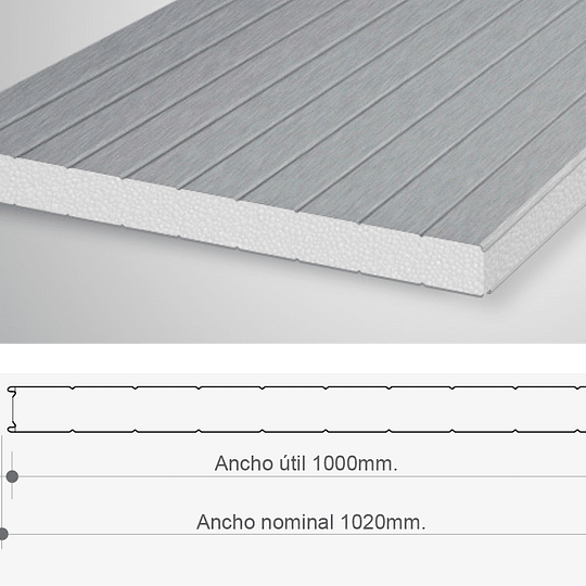 Panel Sandwich Para Muro 1 x 2.4 Mtr x 100mm