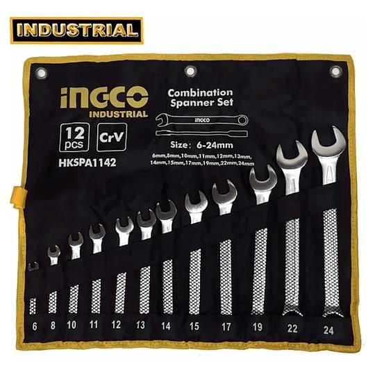 JUEGO DE LLAVES 12PCS COMBINADAS 6-24mm INGCO HKSPA1142