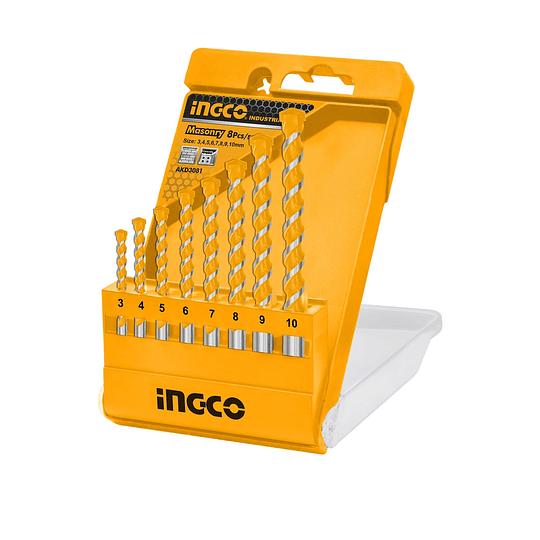 Juego Brocas x 8pcs Concreto INGCO AKD3081