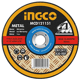 DISCO CORTE METAL 4½ X 1,2MM  PACK 1O UN INGCO MCD121151