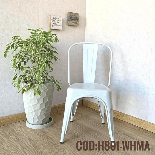 Silla Moderna Metalica Cod:  H801-WHMA
