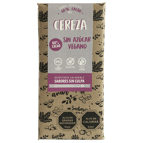 Barra Chocolate Amargo y Cereza 80grs.