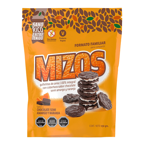 Galletas de arroz Mizos Chocolate Naranja 150grs