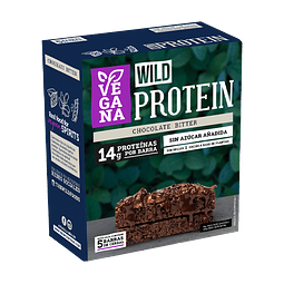 Wild Protein Bar Vegana Chocolate Bitter 45grs. c/u Display 5UN