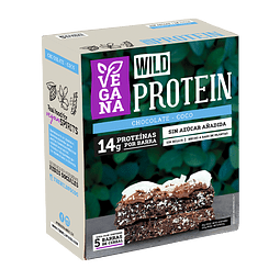 Wild Protein Bar Vegana Chocolate y Coco 45grs. c/u Display 5UN