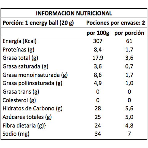 Energy Ball Cacao/Almendra 20grs.