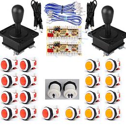 Kit Arcade 2p 20 Botones 2palancas 2interfaces USB