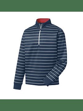 Double Layer Stripe Half-Zip Mid Layer