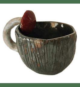 Taza artesanía cerámica diseño hongo