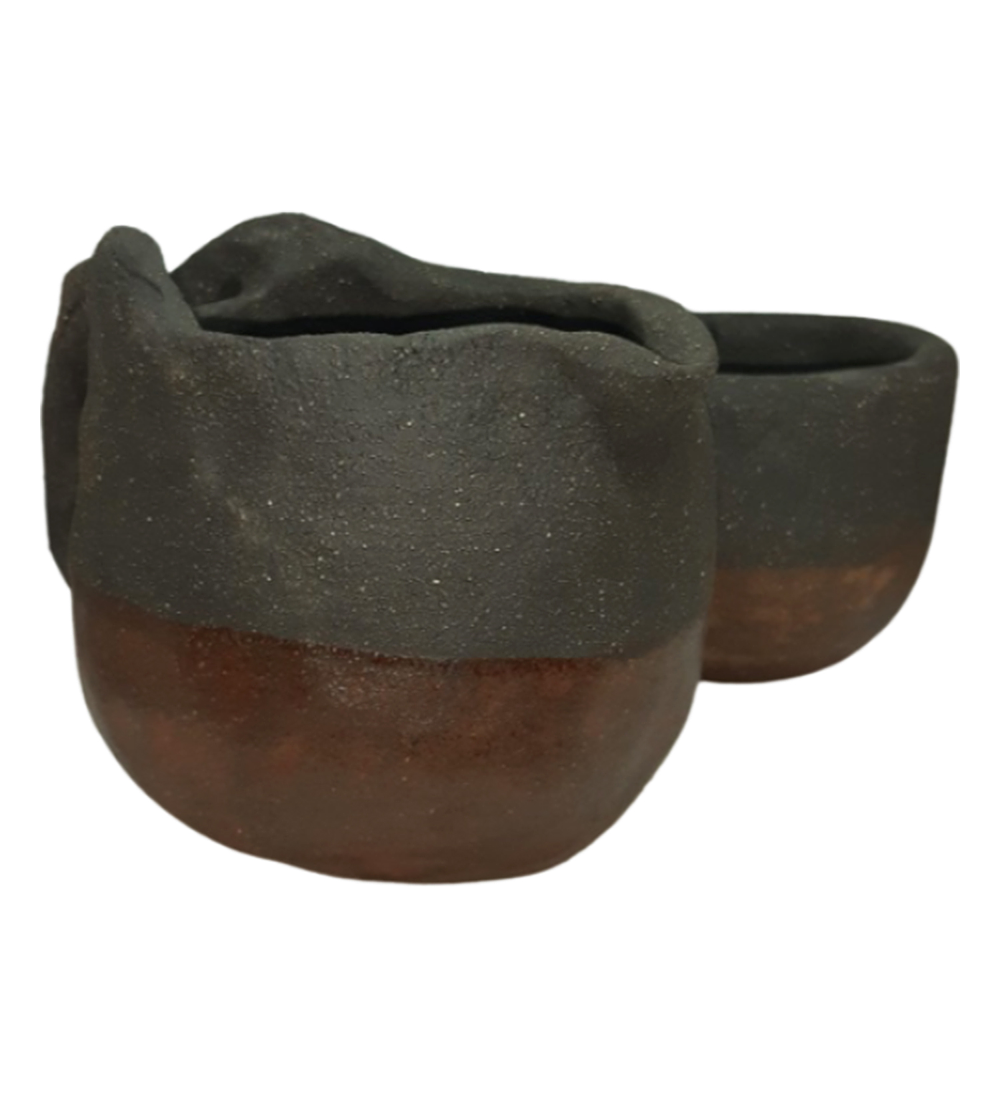 Jarro y tazas diseño tronco de árbol cerámica gres