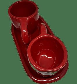 Tazas de café y bandeja cerámica esmaltada