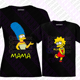 Pack Polera Mamá Marge Simpsons Lisa Hija Madre E Hija Grafimax