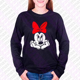 Polera Manga Larga Minnie Mouse Thinking Grafimax