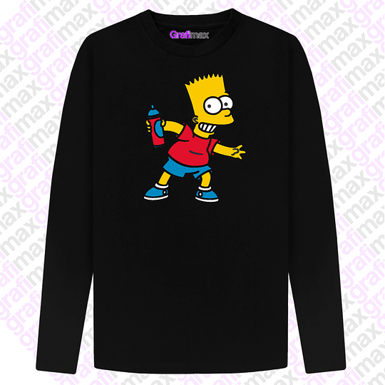 Polera Manga Larga Bart Simpson Spray Dibujos Animados Grafimax