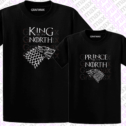 Pack Poleras King Of The North Prince Of The North Papá Hijo Grafimax
