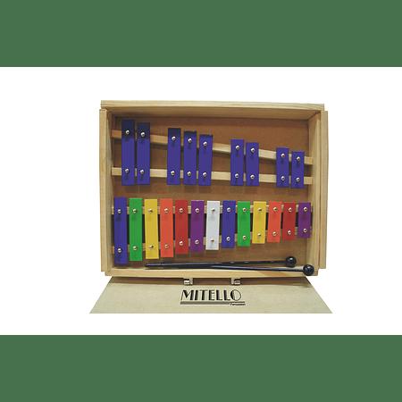 Metalófono Maleta Madera 22 Tonos Color