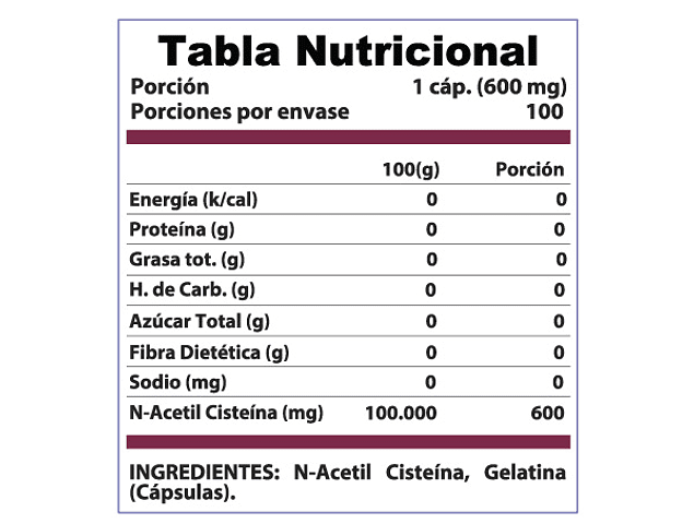 NAC L Cisteína (N Acetyl Cysteine) 600mg 100 Cáps.