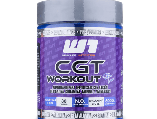 CGT Workout (Creatina-Glutamina-Taurina) 600 Grs. 30 Servicios