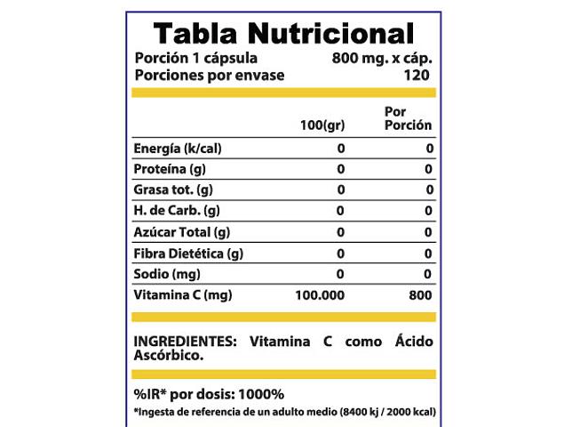 Vitamina C 800mg 120 Cápsulas