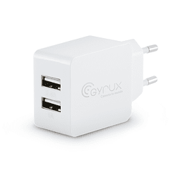 Cargador pared dual USB 1A 2.4A Blanco